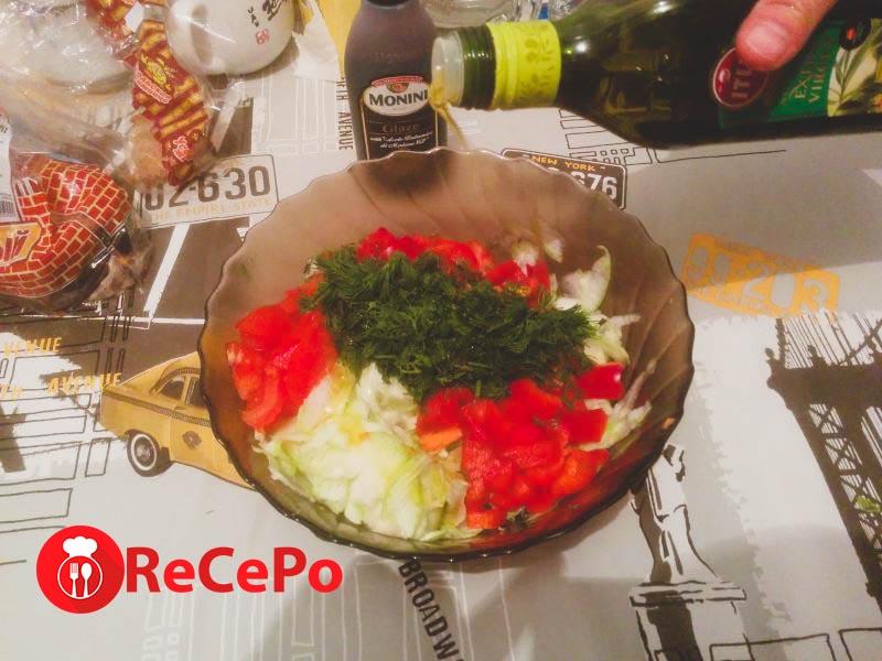 Простой рецепт вкусного овощного салата.
