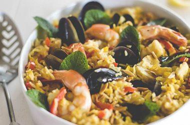 рецепт домашнего плова с морепродуктами (мидии и креветки).