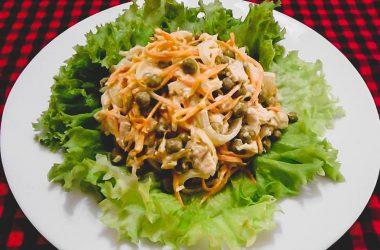 Рецепт приготовления салата со свининой Купеческий в домашних условиях.