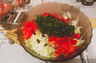Простой рецепт приготовления овощного салата.